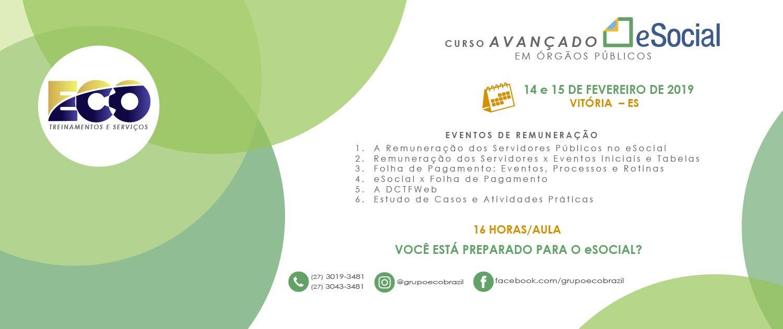 CURSO AVANÇADO eSOCIAL 14-15 FEVREIRO